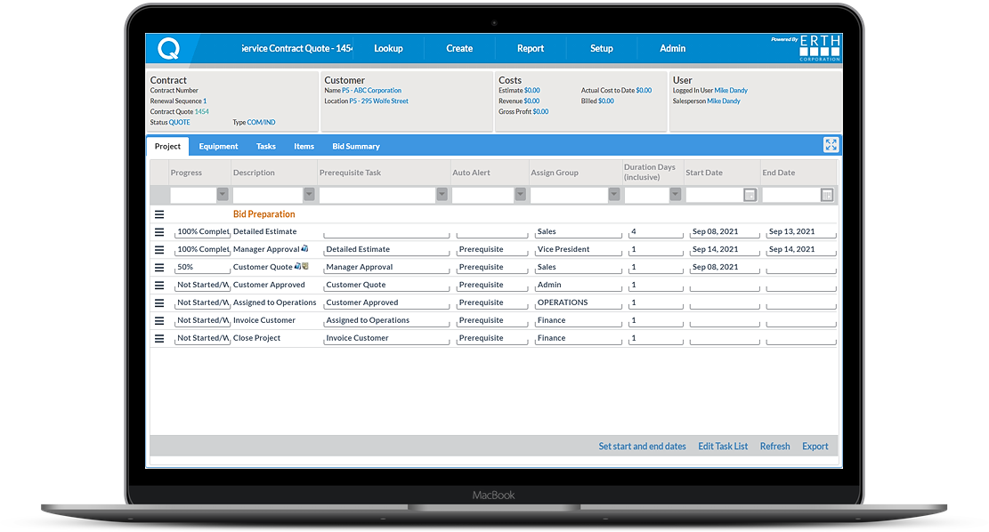 Project Management Screenshot